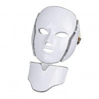 LED Μάσκα φωτοθεραπείας προσώπου 7 χρωμάτων με ΛΑΙΜΟ & 200 λυχνίες led JM098